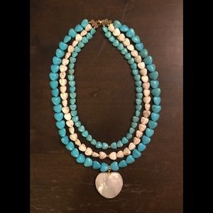 Designed by Michelle Jewelry - Triple layer turquoise necklace
